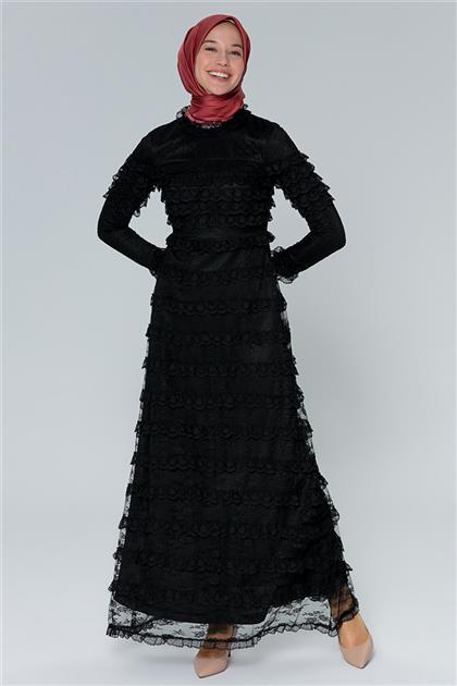 Armine Tül Detaylı Abiye Elbise Siyah 20Y1506