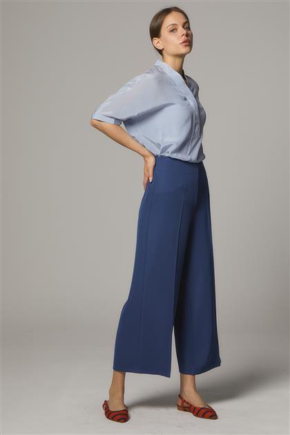 Arkası Lastikli Geniş Paça Pantolon-Lacivert SZ-5176-17