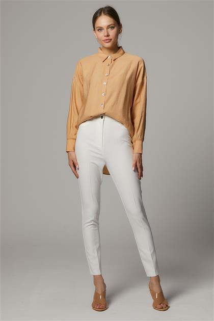 Taşlı Beş Cep Pantolon-Beyaz SZ-5171-02