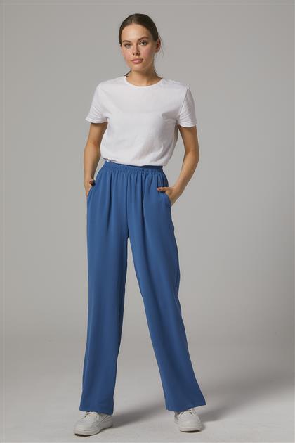 Beli Lastikli Yıldız Krep Pantolon-Mavi SZ-125-70