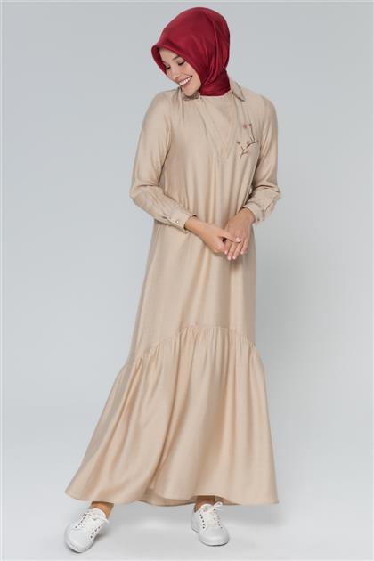 Armine Boncuk İşlemeli Elbise Bej 20Y9156