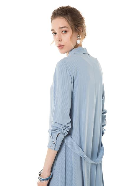 Kemer Detaylı Uzun Mavi Tunik V20YTNK45021