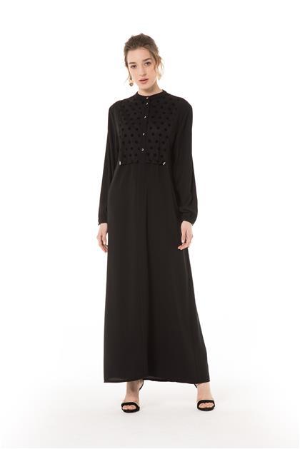 Puantiye Detaylı Siyah Elbise V20YELB17019