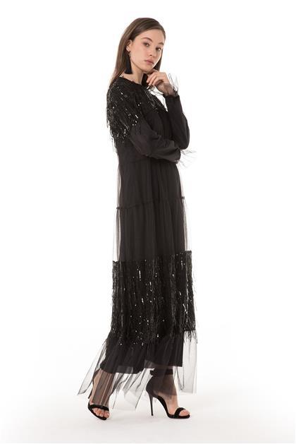 Payet Detaylı Uzun Siyah Elbise V20YELB17029