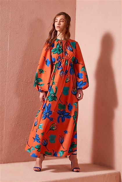 Çiçek Desenli Turuncu Empirme Elbise V20YELB17045