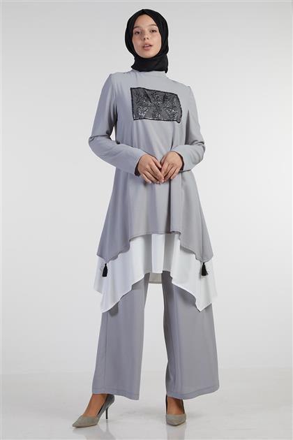 Pul İşlemeli Pantolon Tunik Gri İkili Takım V19YTKM43062