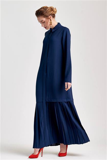 Plise Detaylı Uzun Lacivert Elbise V20YELB17030