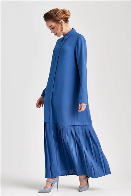Plise Detaylı Uzun İndigo Elbise V20YELB17030