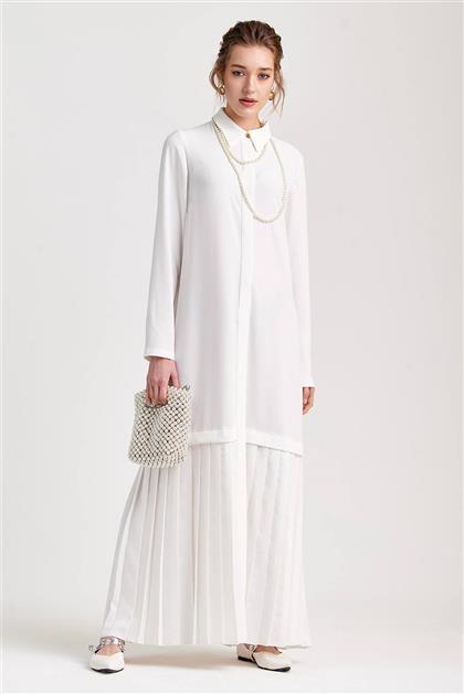 Plise Detaylı Uzun Beyaz Elbise V20YELB17030