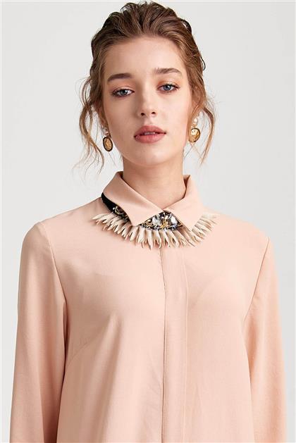 Plise Detaylı Uzun Somon Elbise V20YELB17030