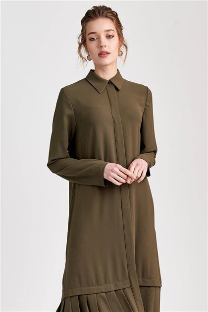 Plise Detaylı Uzun Haki Elbise V20YELB17030