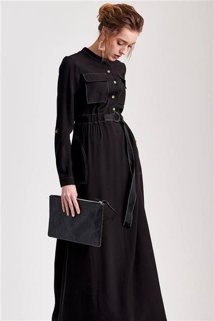 Cep ve Kemer Detaylı Maxi Boy Siyah Günlük Elbise V20YELB17003
