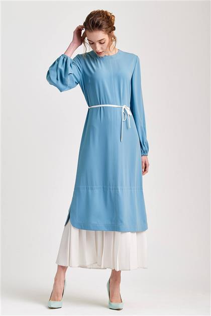 Piliseli Trend Mint Beyaz Elbise V20YELB17031