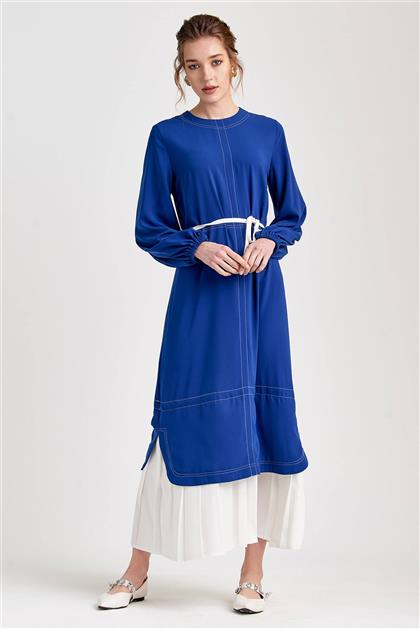 Piliseli Trend Saks Beyaz Elbise V20YELB17031