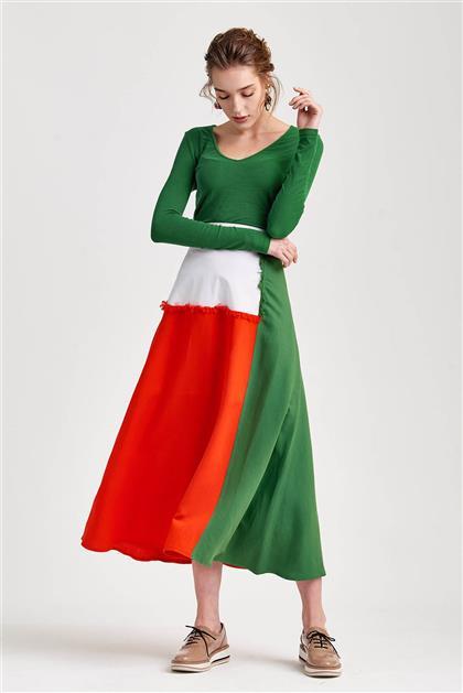 Renk Bloklu Trend Kırmızı Beyaz Yeşil Etek V20YETK20028
