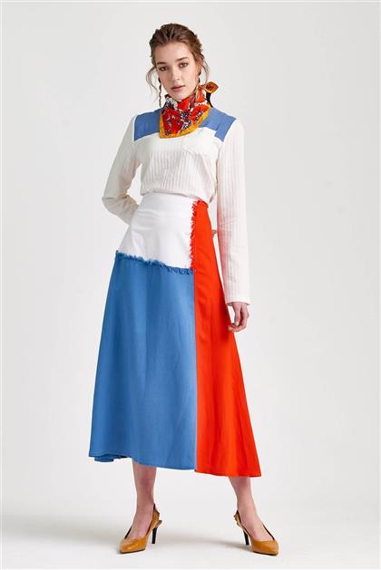 Renk Bloklu Trend Mavi Kırmızı Beyaz Etek V20YETK20028