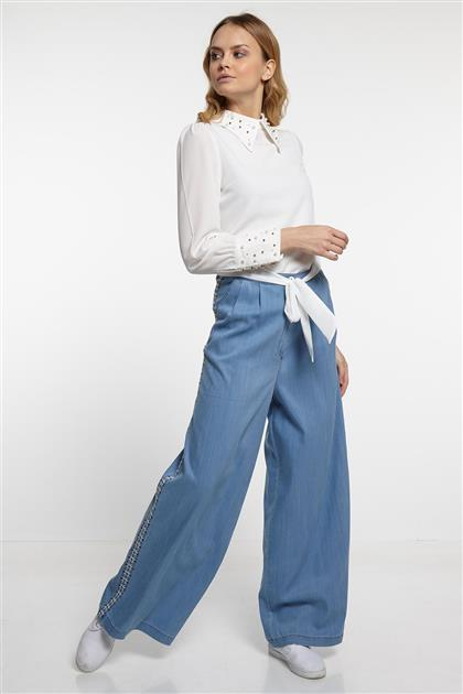 Kenarı Güpür Detaylı Boru Paça Pantolon - Buz Mavisi V19YPNT35009