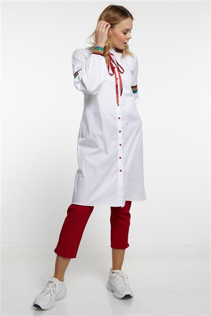 Kol Detayı Şeritli Tunik - Beyaz Kırmızı V19YTNK45021