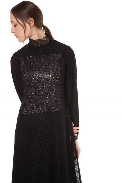 Parıltılı Kumaş Garnili Siyah Renk Uzun File Elbise V20YELB17017