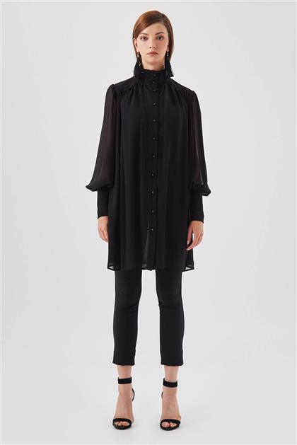 Şerit Detaylı Şifon Siyah Gömlek V20YGML22019