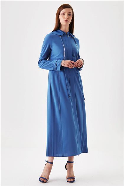 Şifon Pilise Detaylı Pardesü - Mavi V19YPRD37002