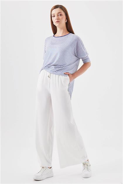 Beli Lastikli Cepli Geniş Paça Beyaz Pantolon V19YPNT35046
