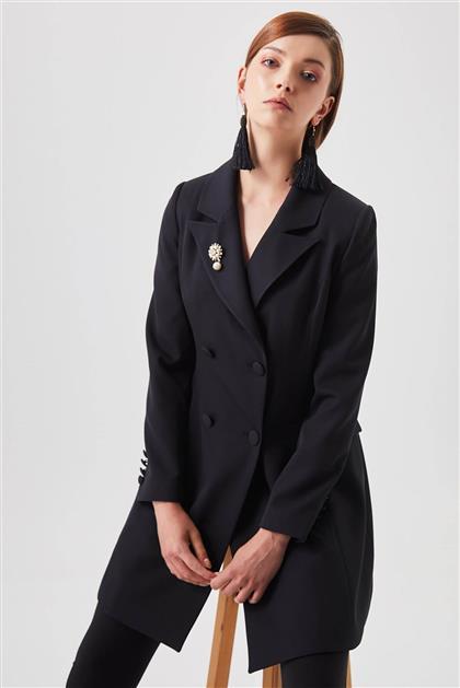 Broş Detaylı Blazer Siyah Ceket V20YCKT14024