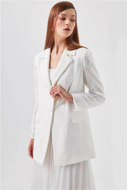 Organze Pul Kol Detaylı Beyaz Blazer Ceket V20YCKT14015