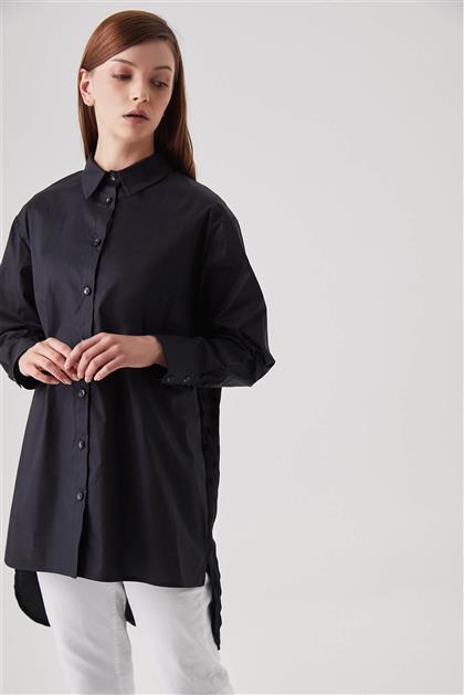 Puantiye ve Sim Şeritli Siyah Gömlek Tunik V20YGML22011