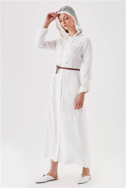 File Detaylı Ön Pat Düğmeli Beyaz Elbise V19YELB17005