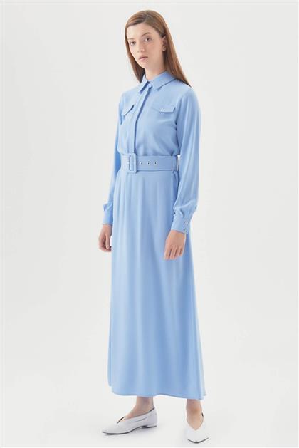 Cepli Kuşgözü Kemerli Düğmeli Elbise - Mavi V19YELB17003
