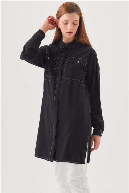 Gömlek Yaka Siyah Tunik V20YTNK45024