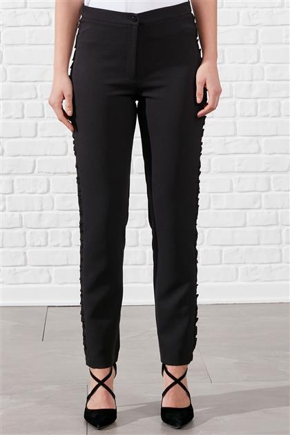 Fırfır Detaylı Kumaş Dikişli Dar Paça Pantolon - Siyah V19YPNT35006