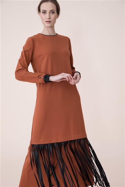 Püskül Detaylı Elbise - Taba V19KELB17005