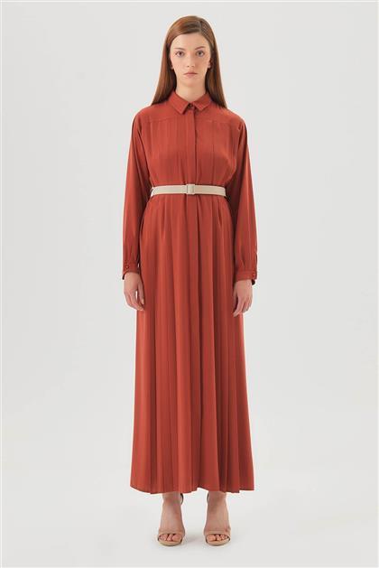 Pileli ve Kemerli Kiremit Elbise V20YELB17032