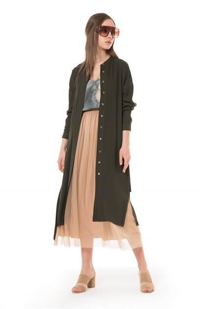 Dikiş Detaylı Reglan Kol Rahat Yazlık Haki Giy Çık V20YGCK21013