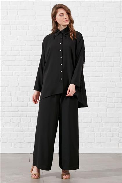 Püskül Detaylı Pantolonlu Takım - Siyah V19YTKM43005