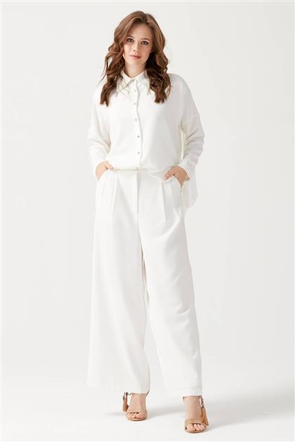 Püskül Detaylı Pantolonlu Takım - Beyaz V19YTKM43005