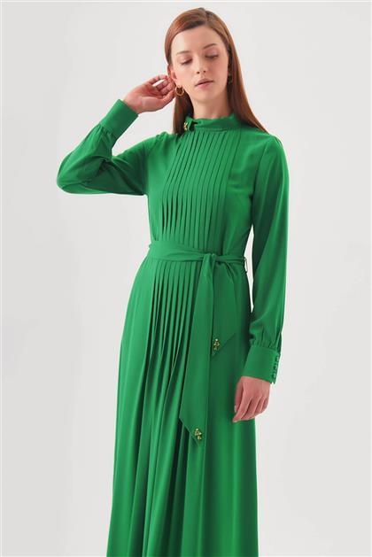 Yaka Aksesuarlı Pileli Yeşil Elbise V20YELB17034