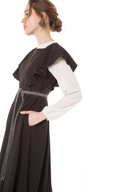 Hasır Kemerli Siyah Jile Elbise V20YJİL48001