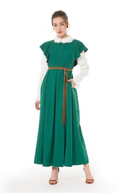 Hasır Kemerli Yeşil Jile Elbise V20YJİL48001