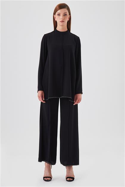 Zincir İşlemeli Tunik Pantolon Siyah İkili Takım V20YTKM43030