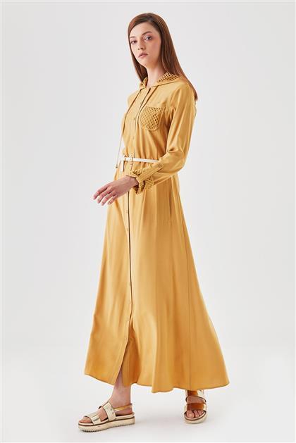 File Detaylı Ön Pat Düğmeli Hardal Elbise V19YELB17005