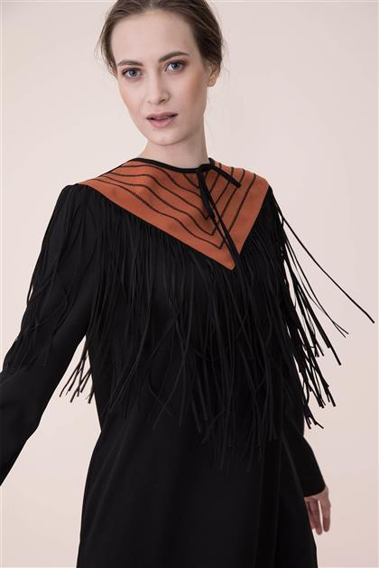 Püskül Detaylı Elbise - Siyah V19KELB17006