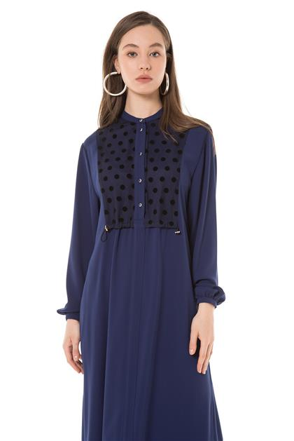 Puantiye Detaylı Lacivert Elbise V20YELB17019