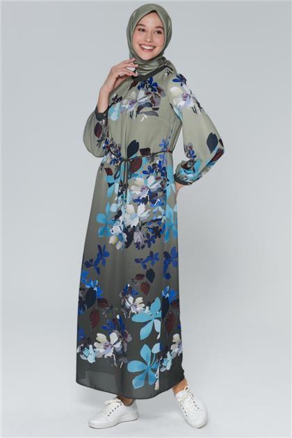 Armine Çiçek Desenli Elbise Haki 9Y914