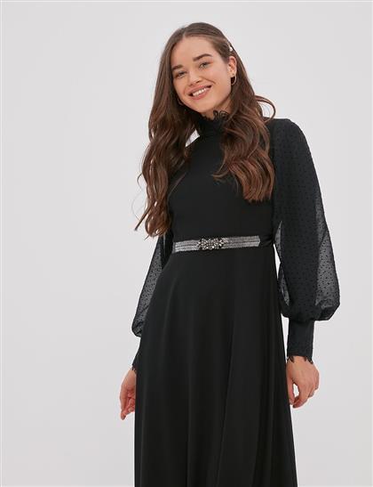 Kemeri Taşlı Balon Kol Elbise Siyah A20 23029