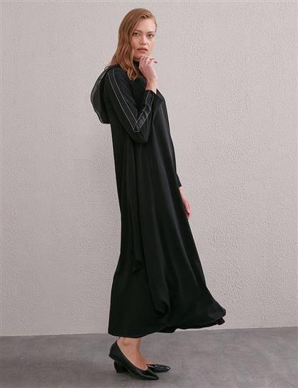 Kontrast Dikişli Kapüşonlu Giy-Çık Siyah A20 25090