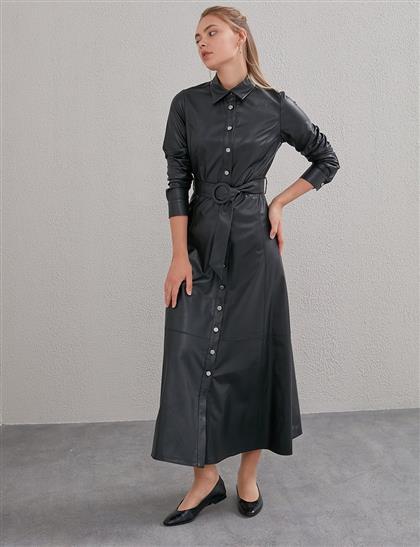 Kemerli Deri Elbise Siyah A20 23030