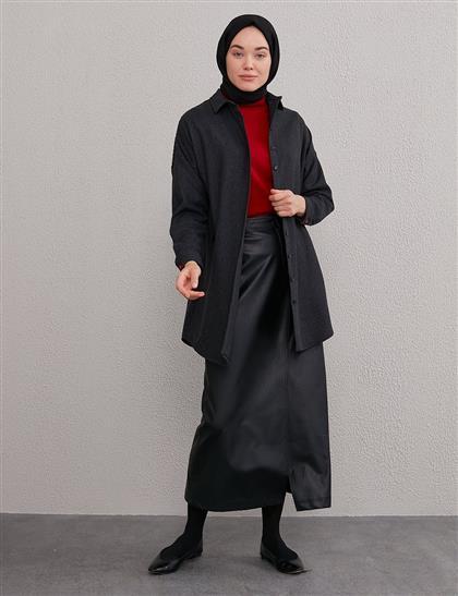 KYR Sırtı Geometrik Desenli Tunik Siyah A20 81003